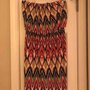 Strapless short dress- multicolored